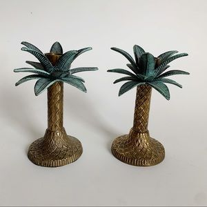 Brass Palm Tree Candle Stick Holders Lot of 2 Vtg